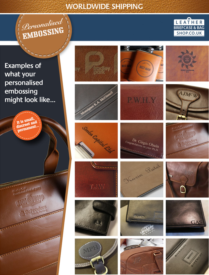 Leather Briefcase Shop Personalised Embossing